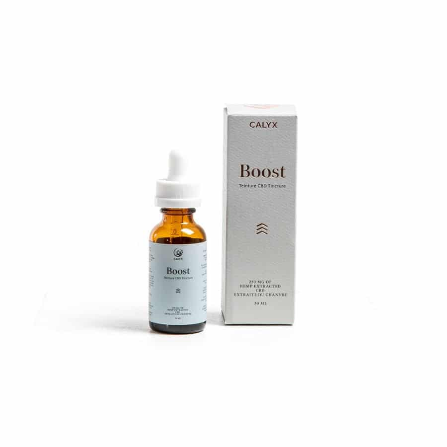 Box and bottle of Boost Oil